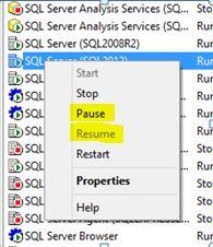 pause sql server