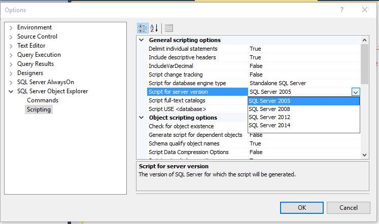 Generating scripts for previous versions of SQL | SQL Studies