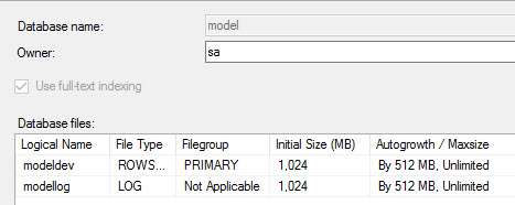 Change the Model database file defaults.