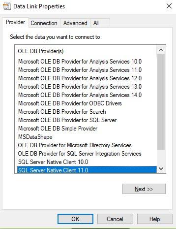 Ole db provider sqlncli11