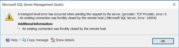 A transport-level error has occurred when sending the request to the server. (provider: TCP Provider, error: 0 - An existing connection was forcibly closed by the remote host.)